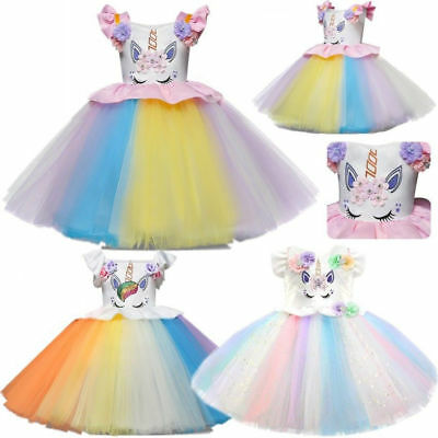 Kids Flower Girl Party Unicorn Tutu Tulle Dress Rainbow Wedding Pageant Princess