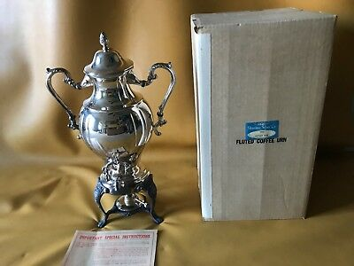 "Sheridan / Vintage Footed Samover Coffee Urn & Warmer / Silver Plated 18"" Tall"