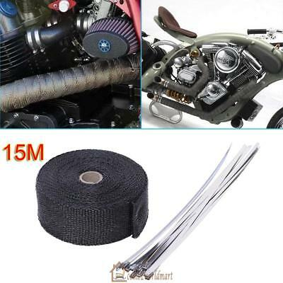 Exhaust  Heat Resistant Wrap 2000F 15M*50mm + 10 Stainless Steel Ties Protector