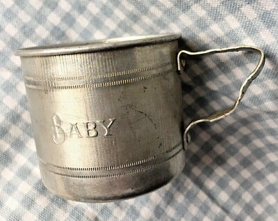 """Vintage tin BABY DRINKING CUP  2 1/4"""" high"""