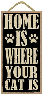 """HOME IS WHERE YOUR CAT IS Cute CAT Hanging Sign 10""""x5"""" NEW USA Wood Plaque 540"""