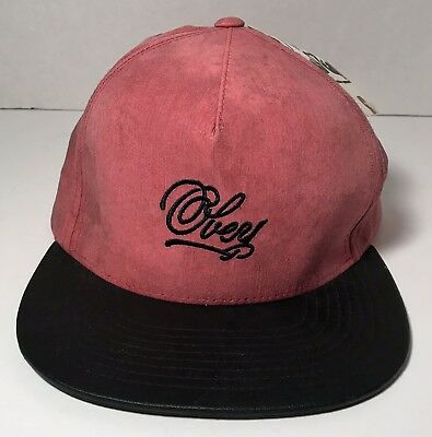 OBEY Shepard Fairey BLEEKER BILL BASEBALL CAP HAT Distressed RED BLACK NWT  36.00 10d77cf14045