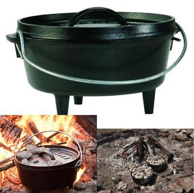 New Camping Cooking Lid Pot Oven Cast Iron Dutch cookware Over Fire Lodge, 2 Qt