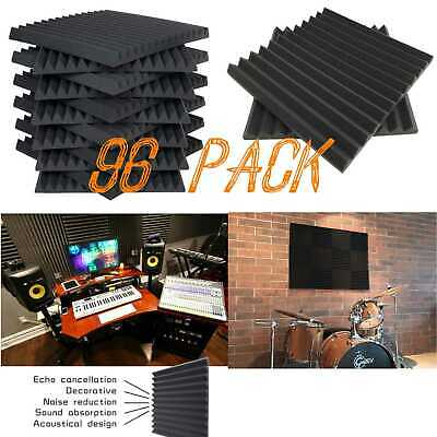 "96 Pack Acoustic Foam Panels Wedge Studio Sound Absorption Tiles 12"" X 12"" X 1"""