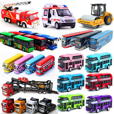 Simulated Mini Metal Double Decker Bus Pull Back Model Toy Sound Light Kids Gift