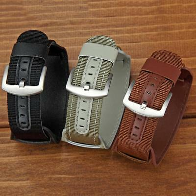 Mens Military Army Leather Watch Band Bund Strap Cuff Bangle 18/20/22/24mm QA