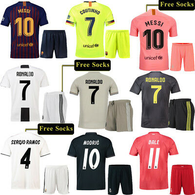 2018-19 Football Kit Jersey Club Short Sleeve Team Suit Kids Boys Youth +Socks