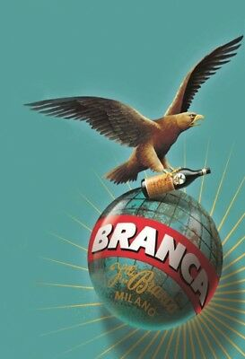 Fernet Branca Milano Eagle Metal Sign Signboard Arched Tin 7 7/8x11 13/16in