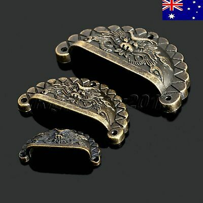 AU STOCK 4pcs Vintage Dragon Patter Dresser Drawer Shell Knob Pull Handle Cup