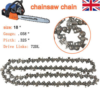 """2 Pack 18 inch Chainsaw Saw Chain Blade Pitch 325 """" 0.058 Gauge 72DL Replacement"""