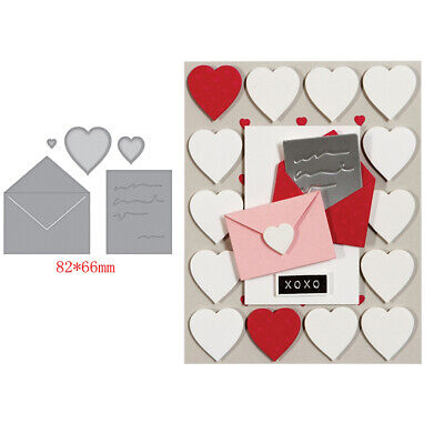 Love Heart Envelope Metal Cutting Dies Stencil Scrapbooking Album Embossing DIY