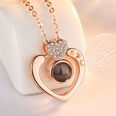 925 Silver 100 Languages I Love You Projection Heart Pendant Memory Necklace PB