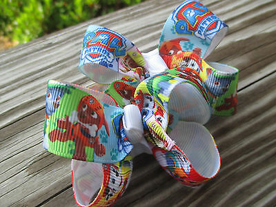 """Hair Bows a pair of Med 2"""" Paw Patrol with Rubble and Grossgrain  Hair Bows USA"""