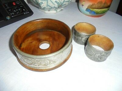 Antique/vintage Art Nouveau Design Wine Coaster  & 2 Arts & Craft Napkin Rings