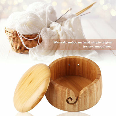 Yarn Bowl Wooden Bamboo Holder Storage Removable Lid Cover For Knitting Crochet