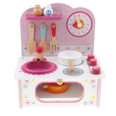 Prettyia Kitchen Water Tank Stove Bench Wooden Cookware Toy Cooking Pretend