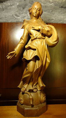 ✞ Large Xl Antique Hand Carved Wood Praying Our Lady Mary Immaculate Statue ✞