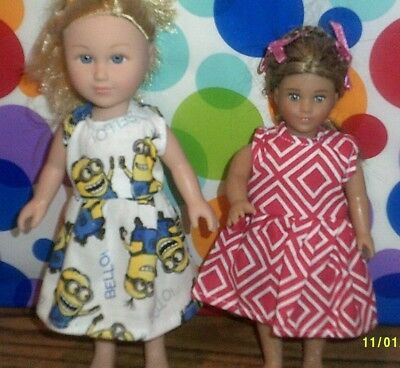 "6/6.5"" Doll Clothes-fit Mini American Girl My Life-2 Dresses-Diamond/Minnion"