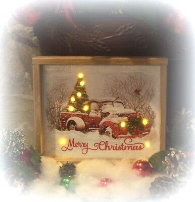 """Vintage Red Truck Sign """"led"""" Lights Merry Christmas Tree Rustic Box Framed Wood"""