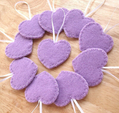 10 lavender heart decorations, light purple heart ornaments, lilac Valentine