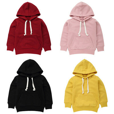 Kids Baby Girls Boys Sweatshirt Tops Plain Hooded Hoodie Jumpers Pullover Coat