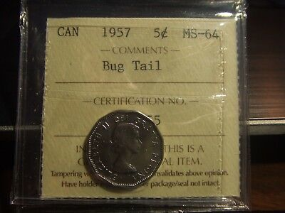 Canada Five Cents  1957 Bugtail Iccs Ms-64 !!!!