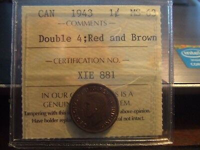 Canada One Cent 1943 Iccs Ms-63 Double 4 !!!