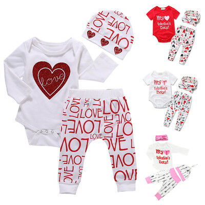 My 1st Valentine's Day Romper Pants 3PCS/4PCS Outfits Set for Baby Girls Newborn