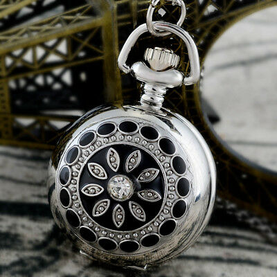 Vintage Silver Retro Quartz Pocket Watch Floral Figure Necklace Gift Small Size