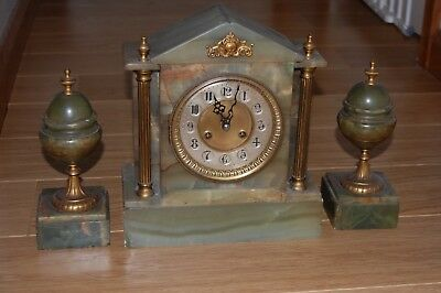 Algerian Marble Clock Set .Green And Brown Marble Approx 1910