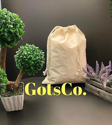 """6""""x8"""" inch Natural Cotton Double Drawstring Bags / Pouches ~ Sold in Dozen"""