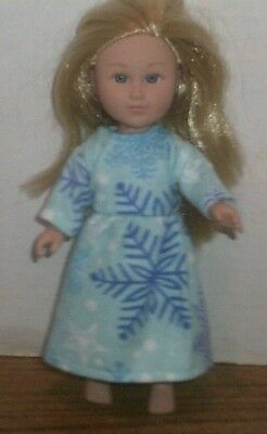 "6/6.5"" Doll Clothes-fit Mini American Girl My Life-Nightgown-Blue Snowflake"