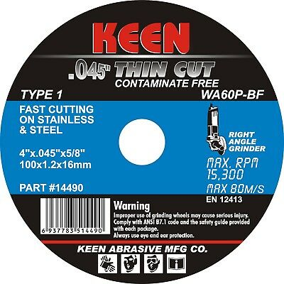 "Box of 50- STAINLESS THIN Cut Off Wheel 4"" x.045""x5/8"" KEEN Abrasives 14497"