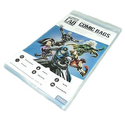 Battle Lab -  Resealable Current Size Comic Book Storage Bags 100 Bags