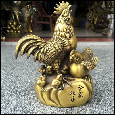 Chinese pure copper chicken Lucky feng shui crafts Decoration Statue