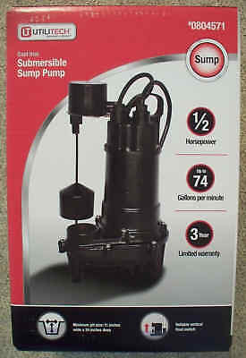 Utilitech 1/2 HP 74 GPM Cast Iron Submersible Sump Pump-90ECD518-804571-Sealed