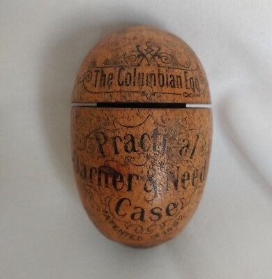 Wooden Antique Darning Columbian Egg and Needle Holder from Worlds Fair 1893