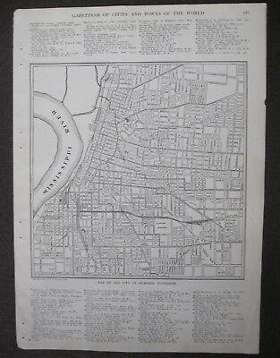 1911 Original Antique Map of the City of Memphis, Tennessee