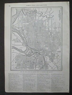 1907 Original Antique Map of The Cities of Kansas City in Missouri and Kansas