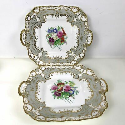 Pair of Early 1800's English Hand Painted Flower Gold Decorated Square Serving P