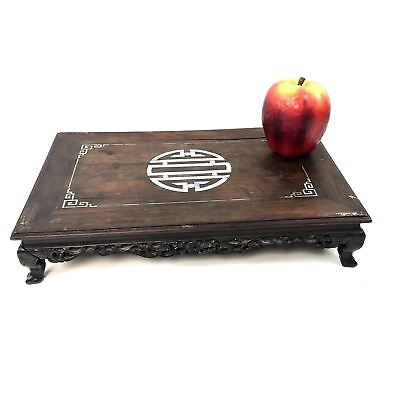 Vintage Chinese Japanese Carved Rosewood Stand W/ Mother of Pearl Inlay