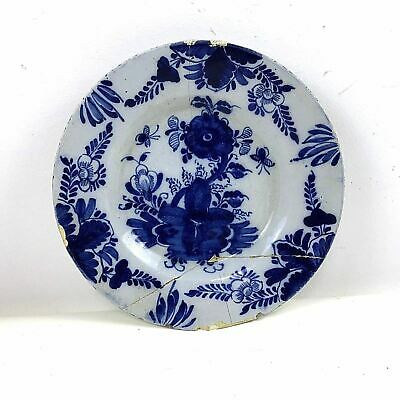 Antique Circa 1700's Delft Blue & White Plate W/ Flower Decoration