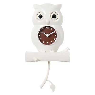 White Owl Pendulum Wall Clock - Bird with Moving Eyes Battery Powered Timepiece