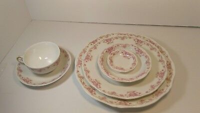 Vintage Theodore Haviland Limoges Fine China Place Setting Pink Daisy Asters