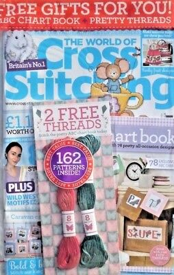 The World Of Cross Stitching Magazine Issue #268 ~ 2018 With Free Gift ~ New ~