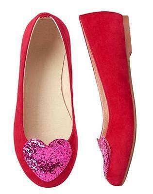 NWT GYMBOREE Cozy Valentine RED heart Flats Dress Shoes Girls 9,1,2,4