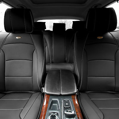 5 Seat Full Set Seat Covers Deluxe PU Leather Solid Black Most Car