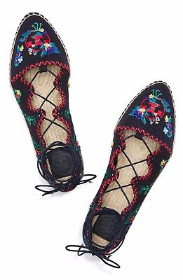 5bf7f4f5c5c9 NEW Tory Burch Sonoma Embroidered Beaded Ghillie Flat Espadrille Navy US 7