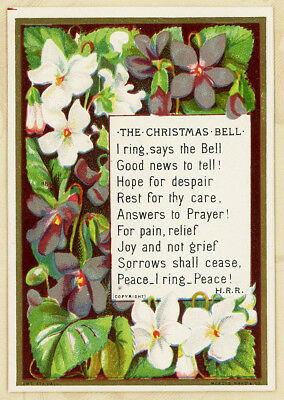 1875 Marcus Ward Peace Christmas Bell Verse w Violets Antique Victorian Card