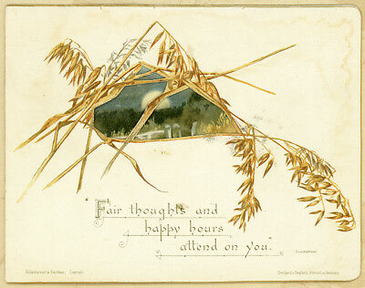 H&F Gold Edge DieCut Folding Havest Moon Wheat Antique 1800s Victorian Card 5.5""